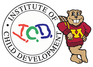 Goldy the Gopher leaning on the ICD logo