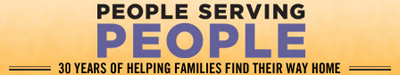 People Serving People logo (30 years of helping families find their way home)